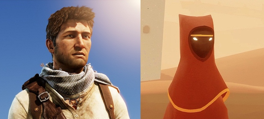 Nathan Drake and the traveler from Journey represent the two high points on either side of the uncanny valley.