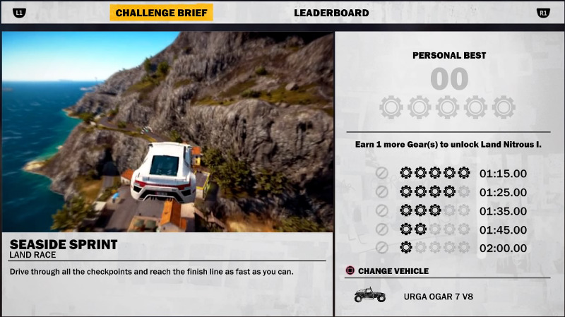 The gear challenge system in Just Cause 3.
